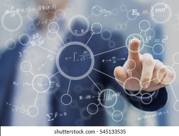 Student or teacher touching mathematical and scientific concepts, symbols and equations on a virtual screen interface