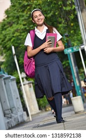 Student Teen Girl Walking To School