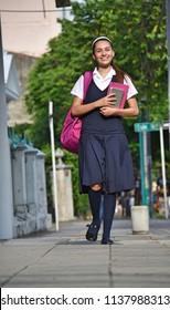 Student Teenage Girl Walking To School