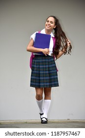Student Teenager School Girl With Long Hair Wearing School Uniform