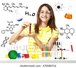 Student with test tubes on white background. Chemical research in laboratory. Education concept.