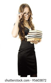 Student with textbooks in her arm isolated