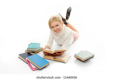 student woman with book on white background