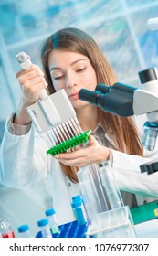 student woman with multi pipette and other PCR items in microbiological / genetic laboratory
