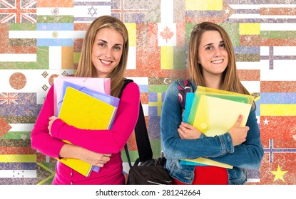 Student women over flags background