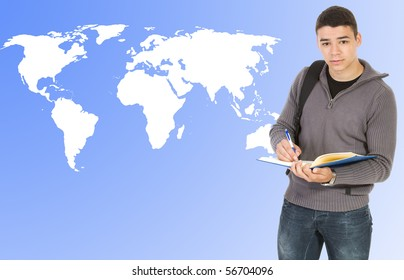 Student  with world map background