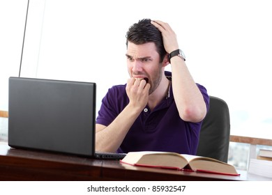 Student worried about data loss, visibly upset about a computer problem