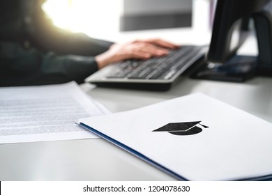 Student writing college or university application. Apply to school. Admission or grant. Teacher and computer. Principal or headmaster working in office. Politician, minister or secretary of education.