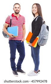 Students with backpack and notebooks standing on white background