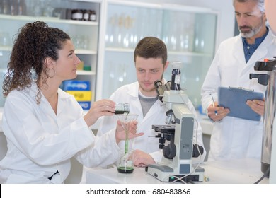 students biologists and chemists in the laboratory