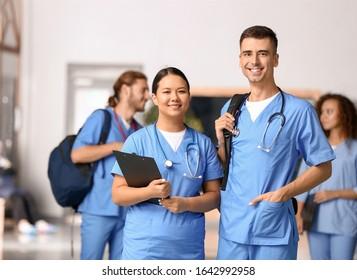 Students in corridor of medical university