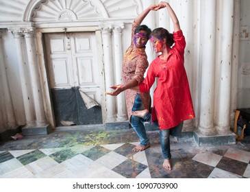 Students dancing on the occasion of Vasanta Utsav at Jorasanko Thakurbari  on March 2 in 2015 in kolkata , India