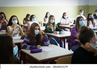 Students with face mask back at school after covid-19 quarantine and lockdown. Turin, Italy - September 2020