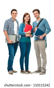 students friends standing together on white background