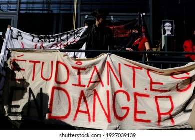 Students gather to protest against isolation and precariousness at the Universite Libre de Bruxelles in Brussels, Belgium on March 1st, 2021.