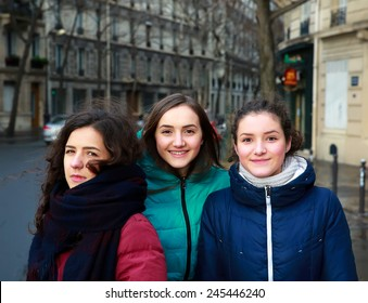 Students girls having fun in the city