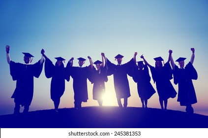 Students Graduation Success Achievement Celebration Happiness Concept