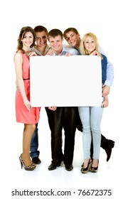 students group happy holding blank white banner isolated on white background