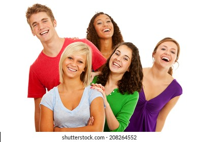 Students: Group Of High School Friends Laughing And Smiling
