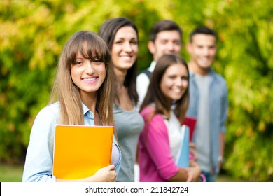 Students group at the park