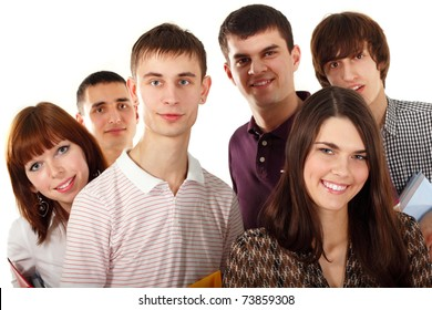students happy group isolated on white background