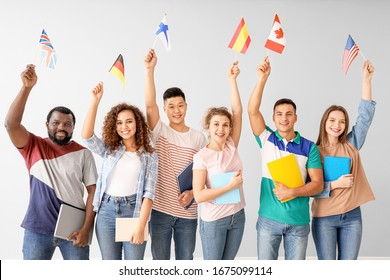 Students of language school on light background