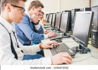 Students learning computer science