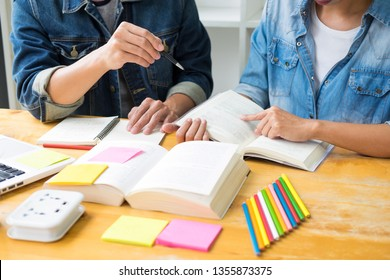 students learning in study teens young education studying and brainstorming discussing their subject on books textbooks, university teen people team together concept