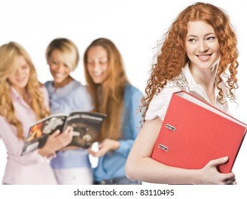 Students on isolated background
