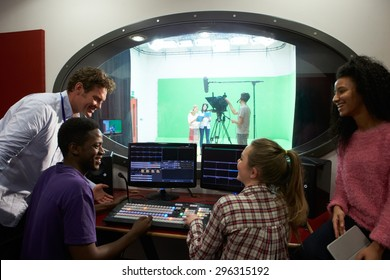 Students On Media Studies Course In TV Editing Suite