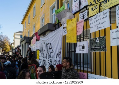 Tirana/Albania-‎December ‎7, ‎2018: Student's protests in Tirana. Albania students demand cut in tuition fee.