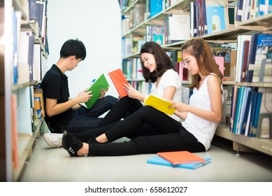 Students read books in the library happily, because learning more about themselves is a learning activity.