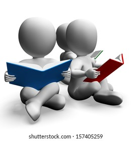 Students Reading Books Shows Education And Studying