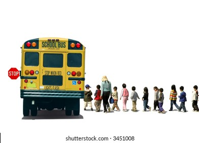 Students (school children/pupils) and a teacher boarding a school bus
