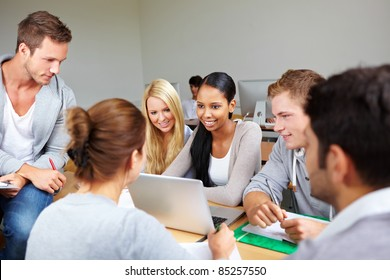 Students in study group in class at university