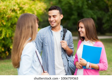 Students talking to each other in a park