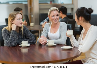 Students talking together in college coffee shop and smiling