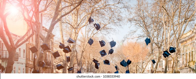 Students throw up their caps. Graduation of studies. The concept of study.