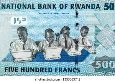 Students are using computers for education. on 500 Rwandan francs of Rwanda. Rwandan francs is the national currency of Rwanda. Close Up UNC Uncirculated - Collection