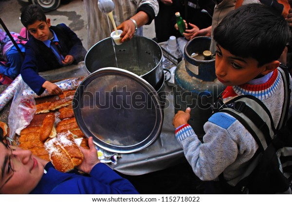 Students Waiting Food Drink Aleppo Syria Stock Photo (Edit