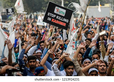 Students of Youth Forum march during an anti-Indian protest in Lahore, Pakistan on October 27,2018. Kashmirs protesters are observing 'Black Day' to mark the occupation of Jammu and Kashmir by India.