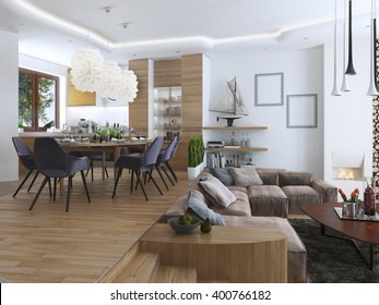 Studio apartment living-room and dining-room in a contemporary style. Large sofa with designer coffee low table and decoration on the shelves. Dining in an elevated podium. 3D render.