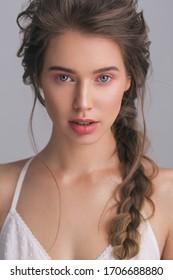 studio beauty portrait with natural light