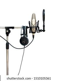studio condenser microphone recording isolated on white background