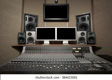 Studio control room. Recording sound. Mixing music.