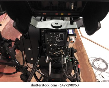Studio equipment in Media Center. The studio where the shots were made. Professional camera details. Automatic adjustable cameras. TV cameras. Sarıyer district, İstanbul, Turkey. May 10, 2019.
