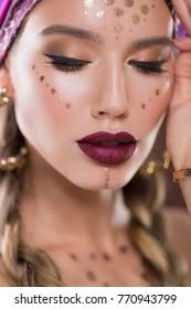 Studio ethnic beauty closeup