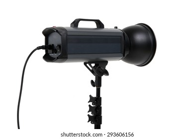 studio flash light with diffuser on isolated background