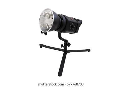 studio flash light on white isolated background