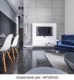 Studio flat with black wardrobe, table, tv and sofa